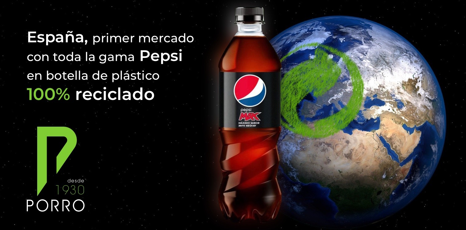 Pepsi en botella de plástico 100% reciclado distribuido por Distribuciones Porro