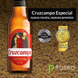 Cruzcampo Especial obtiene La medalla de oro en Monde Selection Quality y la de plata en London Beer Competition. Distribuida por Distribuciones Porro.