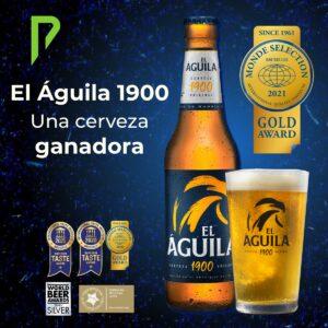 Cerveza El Aguila 1900 medalla Oro Monde Selection 2021. Distribuida por Distribuciones Porro